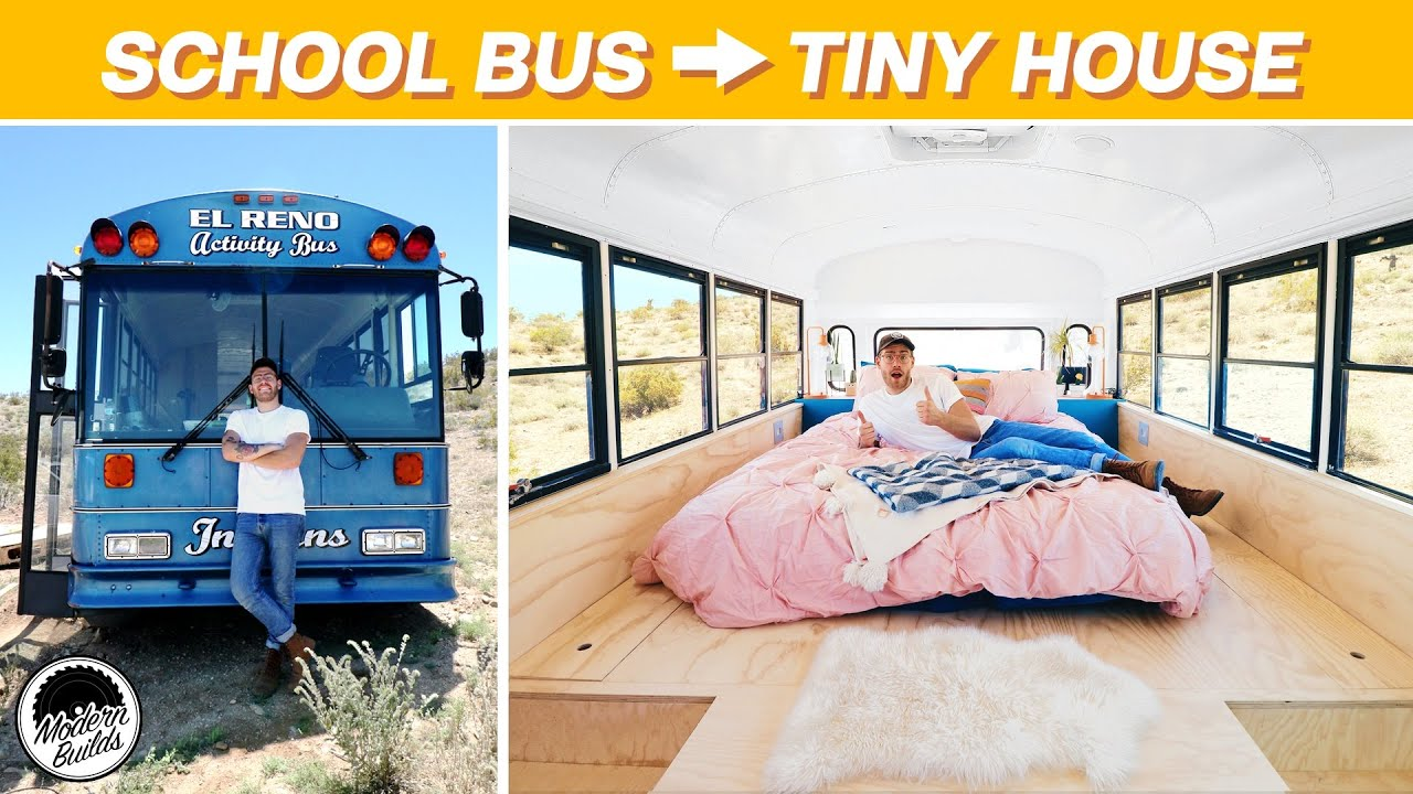EP. 2: THE BEDROOM | DIY SCHOOL BUS TINY HOUSE CONVERSION | MODERN BUILDS