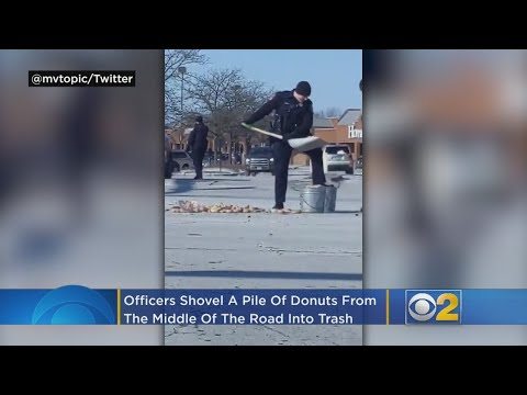 Lynch and Taco - Officers Clear Donut Spill From Intersection Using Snow Shovels