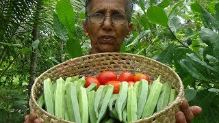 Village Foods ❤ Cooking Lady's Fingers in my Village by Grandma ❤ Yummy Okra Recipe