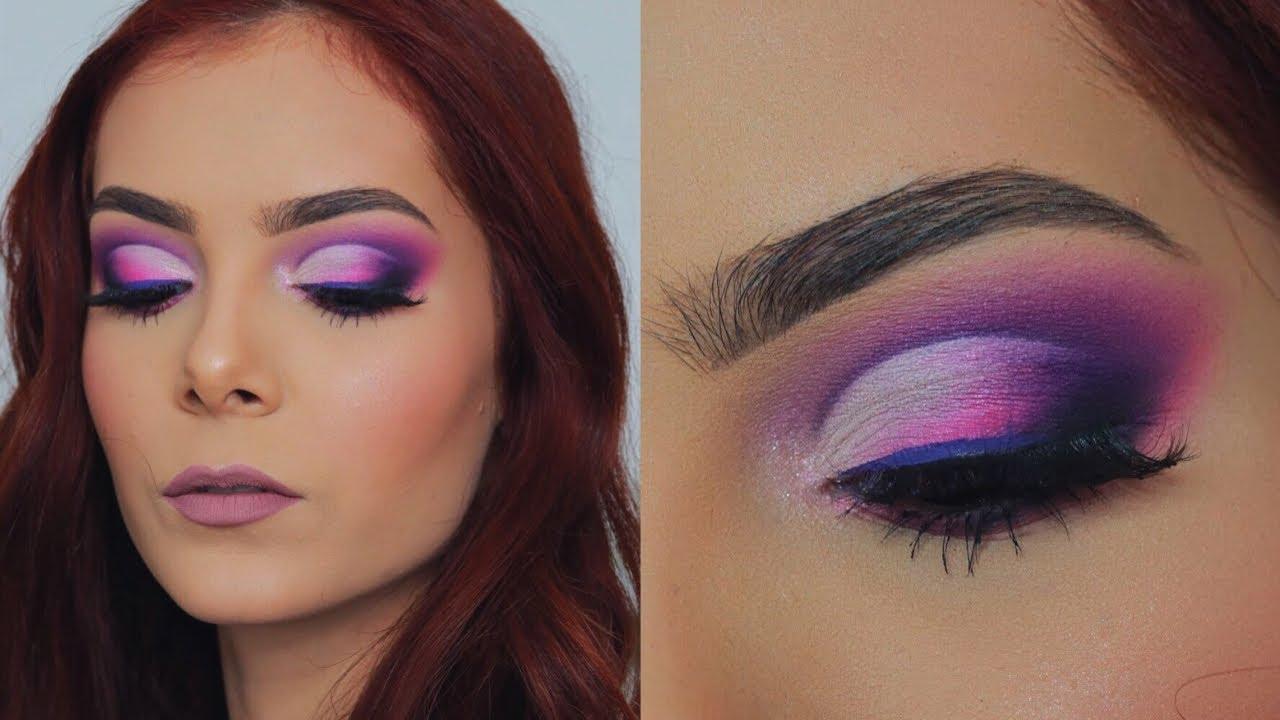 Maquillaje De Ojos Con Tonos Morado Y Rosado Cut Crease San Valentin Celheliz Youtube