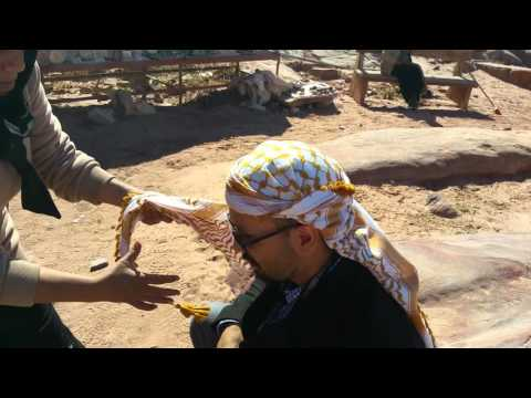 Local Bedouin in Petra teaches Keffiyeh.