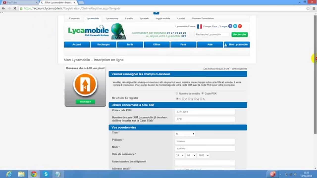 activation carte sim lycamobile activer lycamobile   YouTube