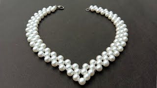 How To Make/ A Pearl Necklace/ At Home/ useful & easy