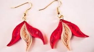 paper earring making easy method design   paper quilling earrings tutorial