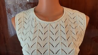 Летняя маечка. Часть 2. Формирование горловины. #мастеркласс #красивыйузор #вязание #knitting #мк