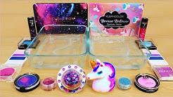 Galaxy vs Unicorn - Mixing Makeup Eyeshadow Into Slime! Special Series 89 Satisfying Slime Video