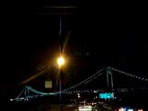 Driving under the Verrazano Narrows Bridge at night - YouTube