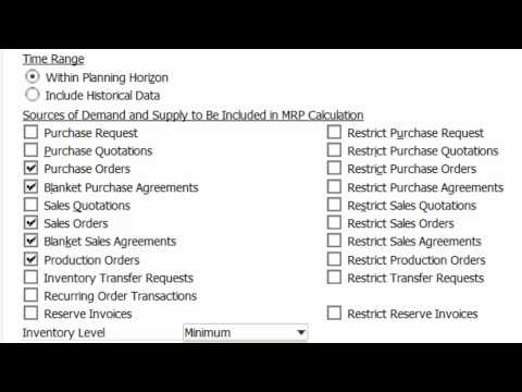 SAP Business One - MRP - Material Requirements Planning