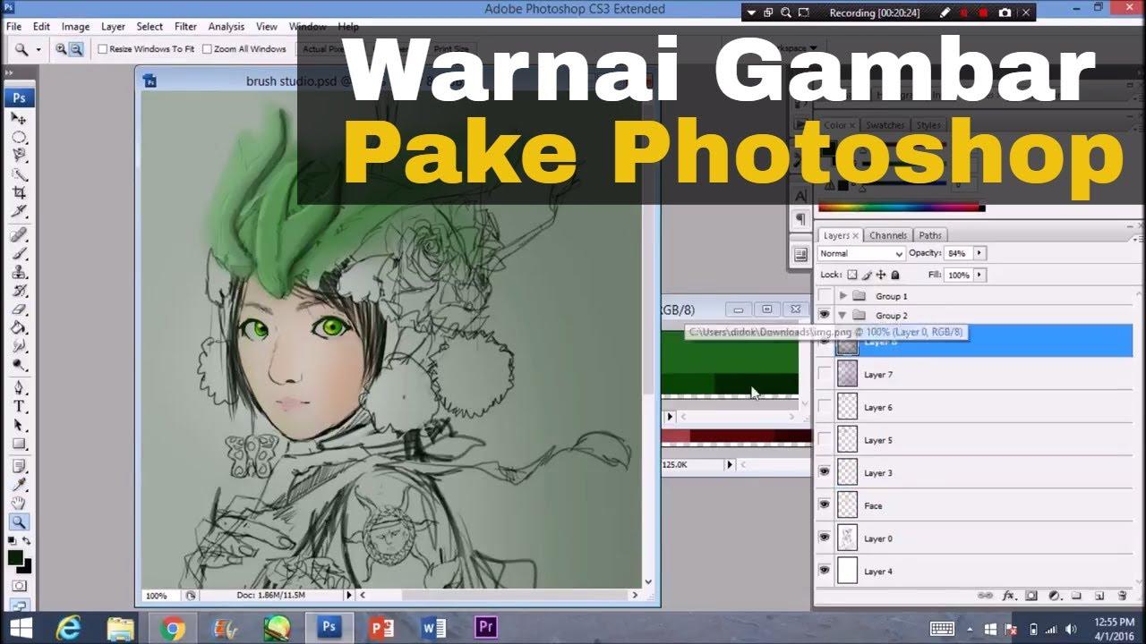 Cara Mewarnai Gambar Di Photoshop Anime Komik Youtube