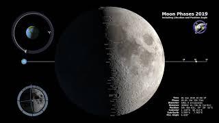 Moon Phases 2019 - Northern Hemisphere - 4K