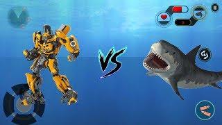 ► Car Robot Shark Hunting Monster Shark Survival - car robot vs shark Android Gameplay