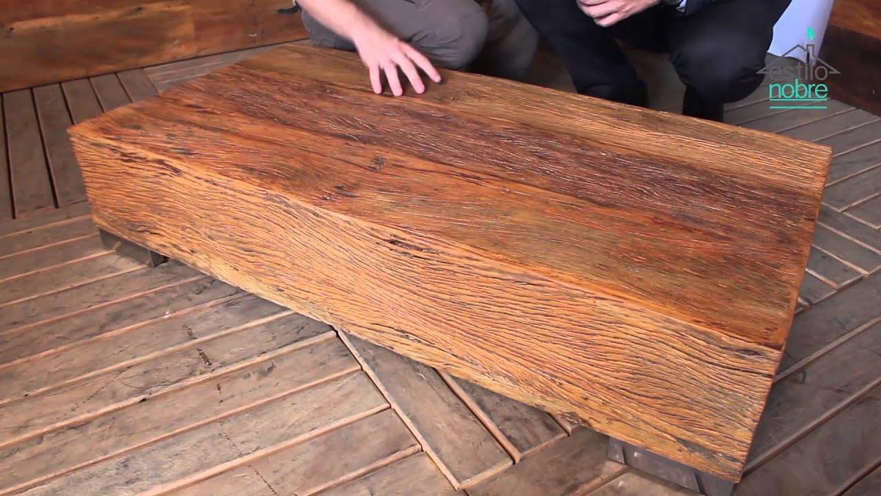 Mesa de centro rustica 1 20 Mesa de centro em madeira de