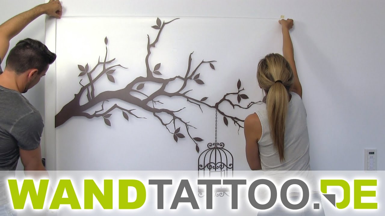 wandtattoo ast mit vogelk fig anbringen youtube. Black Bedroom Furniture Sets. Home Design Ideas