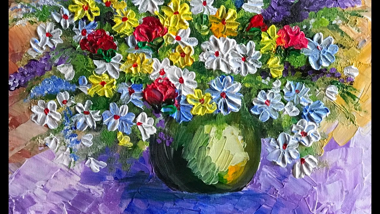Bouquet of flowers acrylic painting with palette knife technique bouquet of flowers acrylic painting with palette knife technique izmirmasajfo
