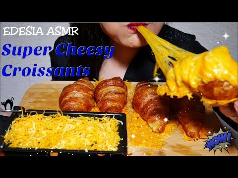 ASMR 먹방 Super Cheesy Croissants🥐チーズ クロワッサン 起司可頌 치즈 크로와상 Croissants au fromage *EATING SOUND*