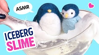 DIY TRANSPARENT Iceberg Slime!!! With Needlefelt Penguins :D