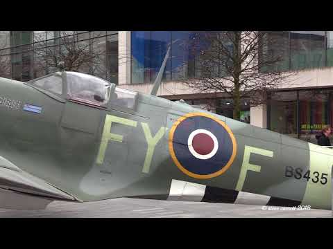 Full Size Replica Spitfire F Mk IX Lands in Guildhall SQ Southampton 17/02/18