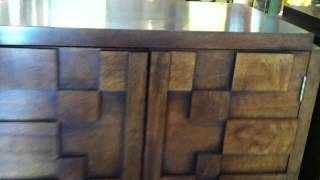 Set Of Two Walnut Mosaic Nightstands By Lane - Shelf In Each Cabinet - $695/set