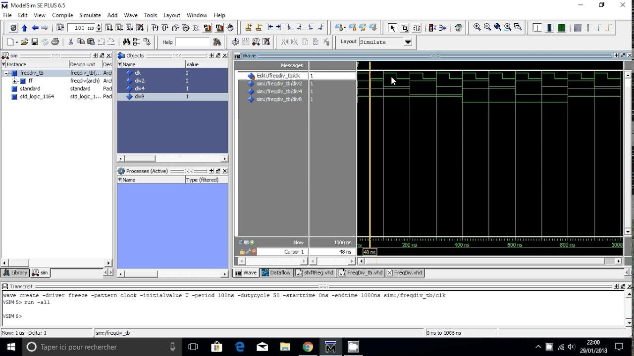 Frequency Divider Vhdl (Model sim)
