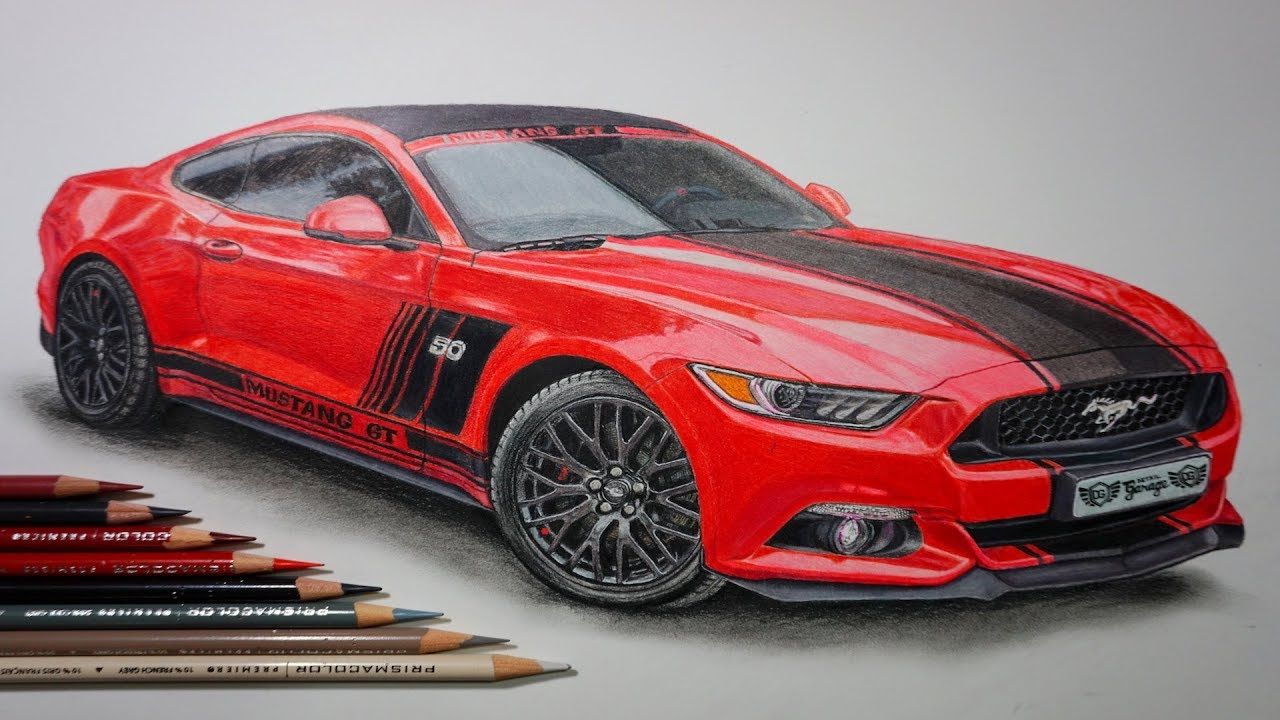 Drawing A Car Ford Mustang Gt Using Colored Pencils Youtube