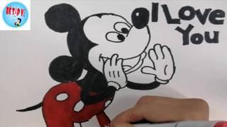 Vẽ chuột mickey | mickey mouse drawing | Bé tập vẽ.