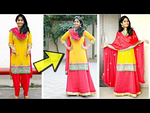 Convert Salwar to a Lehenga Skirt: Make your own Lehenga Suit