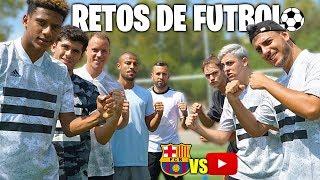 Jugadores del Fc.Barcelona vs Youtubers EPIC RETOS de FÚTBOL