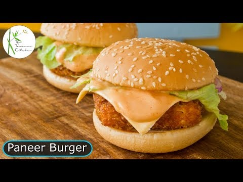 Cheese Burst Paneer Burger   Crispy Paneer Burger Recipe  ~ The Terrace Kitchen