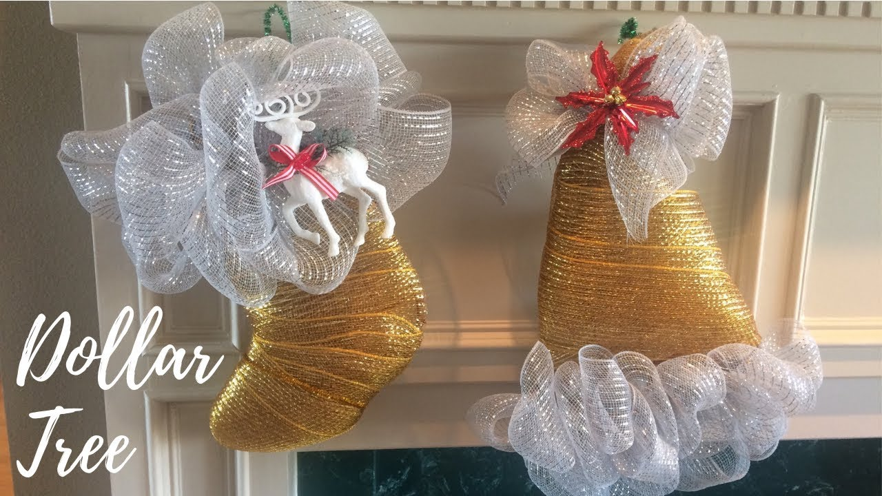 efe7405fa60f5 2 Dollar Tree DIY Santa Hat   Stocking Deco Mesh Wreaths - YouTube