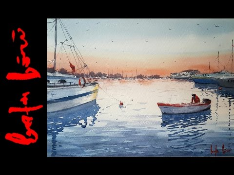 Istanbul Marina Watercolor Painting Demo by Baha Börü - Long Version