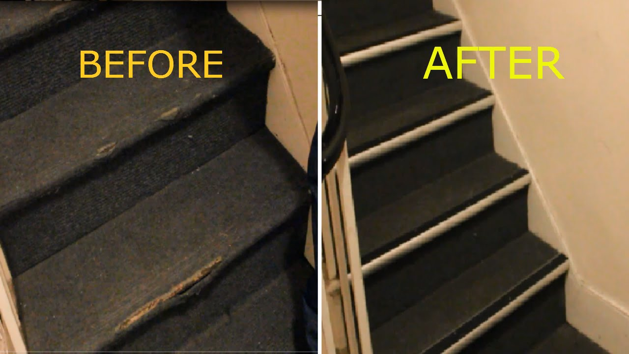 How to Repair Damaged Carpet on Stairs nosing strip  YouTube