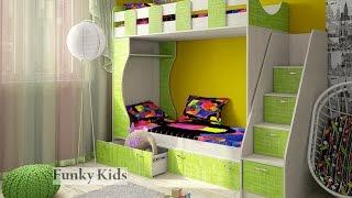 Двухъярусная кровать «Фанки Кидз 5». Шкаф. Лестница. Комод. Мебель ИМ