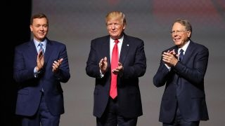 From youtube.com: President Trump, with National Rifle Association Executive Vice President Wayne LaPierre, right, and NRA lobbyist Chris Cox at the 2017 NRA Leadership Forum. {MID-260975}