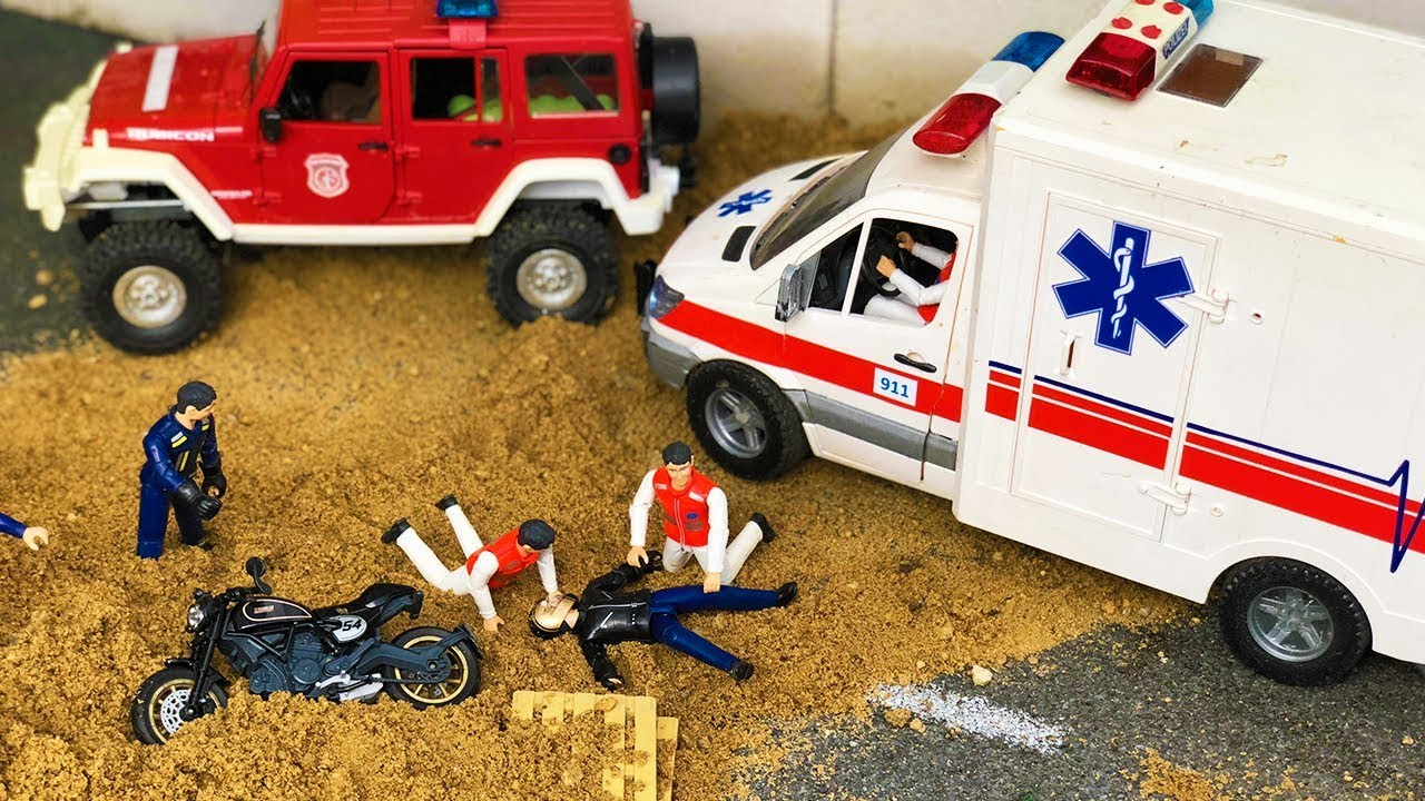Bruder toys Ambulance, Bike, Excavator and Firetruck action for kids! Amazing slowmo crash!