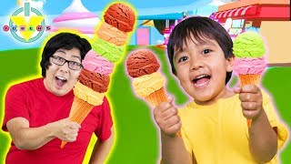 RYAN VS. DADDY ! WE'RE EATING IT ALL in Roblox Icecream Simulator Let's Play