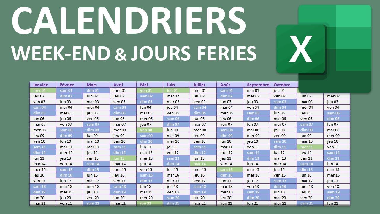 Calendrier Excel avec Week End et jours fériés   YouTube
