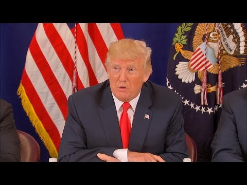 President Donald Trump takes questions after earlier remarks on rising tensions with North Korea