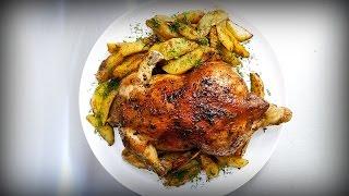 Просто офигенная курица в духовке с картошкой по-деревенски.