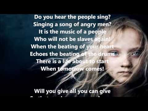 Song of the French Revolution film Les Miserables