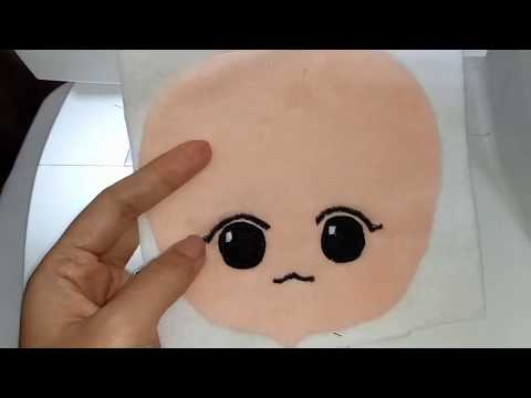 KPop Plush Doll Tutorial : How I Embroider KPop Doll Face With Basic Sewing Machine