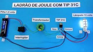 Ladrão de Joule com TIP 31C - Lâmpada de 12 Volts