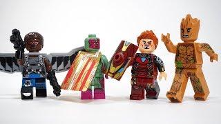 Avengers Infinity War Iron Man Battle Damage Vision Bucky Groot Unofficial Lego Minifigures
