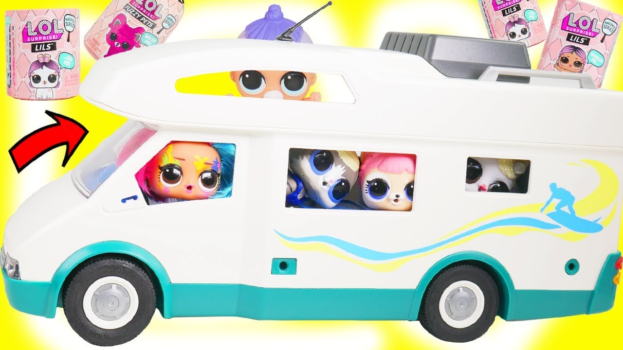 LOL Surprise Fuzzy Pets in Playmobil Camper Trip | Toy Egg Videos