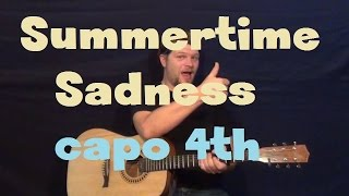 Summertime Sadness (Lana Del Rey) Easy Guitar Lesson Strum Chord How to Play Capo 4th