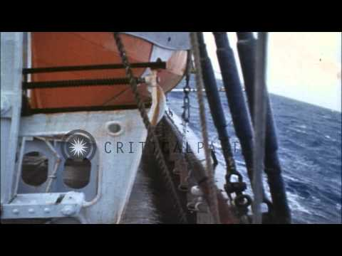 Oceanic survey vessel underway in heavy seas, Pacific Ocean HD Stock Footage