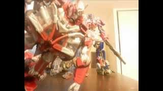 transformers 3 stop motion optimus vs sentinel vs  megatron  VF