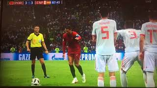 Ronaldo free kick equalizer goal against Spain in dying minutes of 2018 Soccer World Cup.