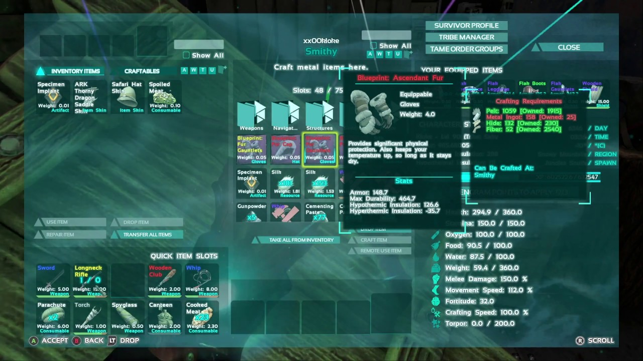 Ark how to make ascendant fur gauntlets youtube ark how to make ascendant fur gauntlets malvernweather Image collections