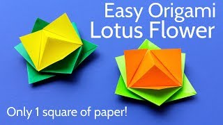 Origami Lotus Flower with 1 Square of Paper - Easy Tutorial