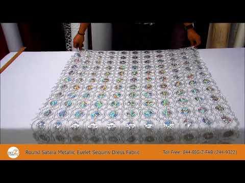 Round Satara Metallic Eyelet Sequins Dress Fabric